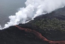 Ins Meer fließende Lava des Vulkans Kilauea auf Hawaii. Foto: Uncredited/U.S. Geological Survey