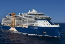 Das auffälligste an der «Celebrity Edge» ist sicherlich der an der Außenwand schwebende «Magic Carpet». Foto: Michel Verdure/Press Center Celebrity Cruises